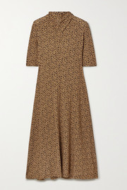 Rosetta Getty Draped leopard-print stretch-jersey midi dress