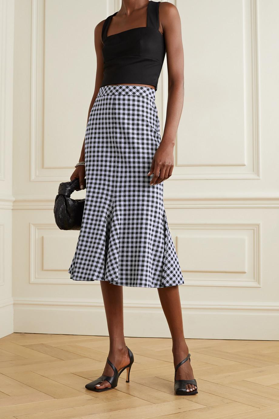 Rosetta Getty Fluted gingham stretch-jersey midi skirt