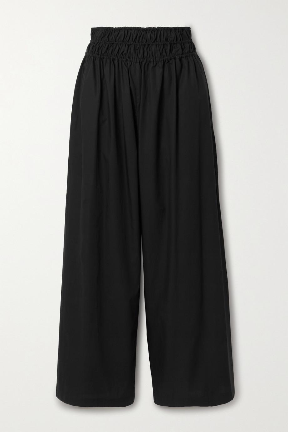 Rosetta Getty Gathered cotton-poplin wide-leg pants
