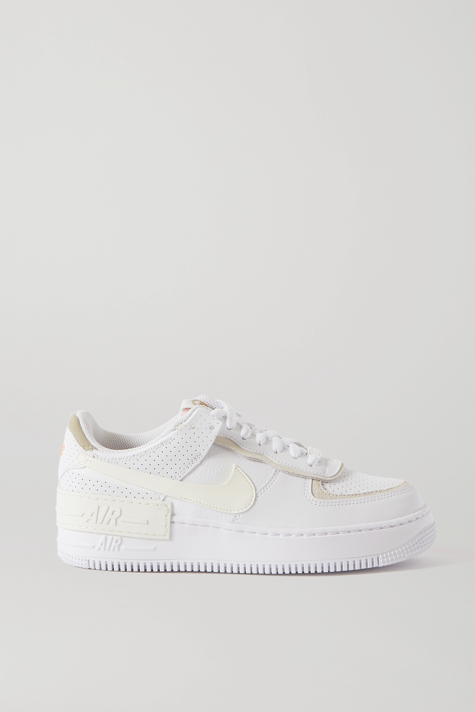 Nike Air Force 1 Shadow suede-trimmed leather sneakers
