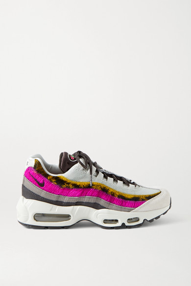 Nike Leathers AIR MAX 95 MESH, SUEDE, CALF HAIR AND LEATHER SNEAKERS