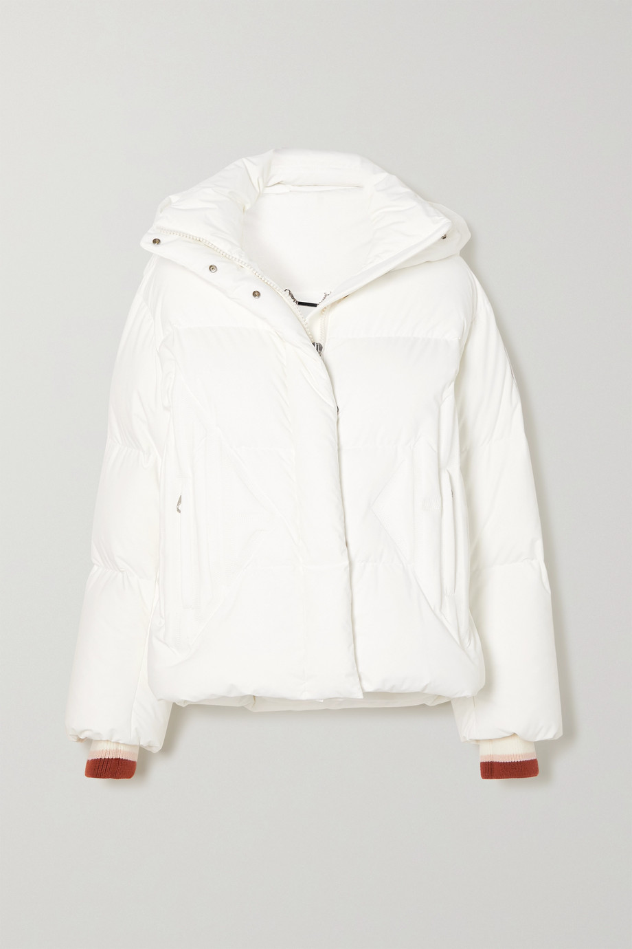Chloé + Fusalp hooded wool-trimmed embroidered quilted down ski jacket