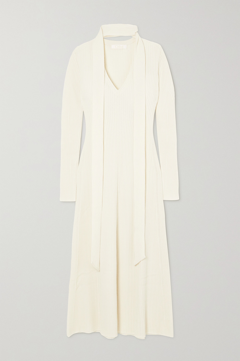 Chloé Tie-neck ribbed wool and silk-blend midi dress