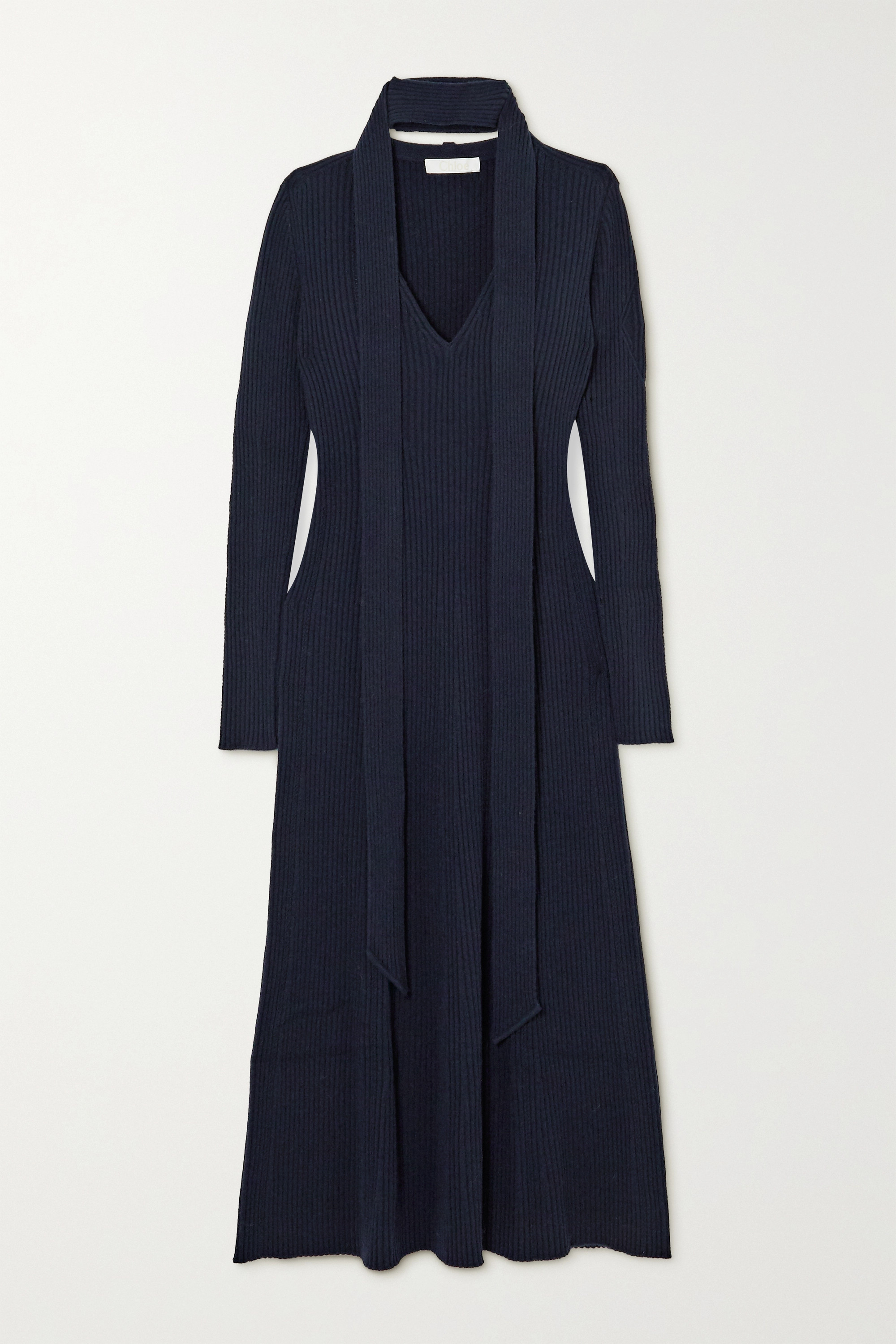 Chloé Tie-neck ribbed wool and silk-blend midi dress