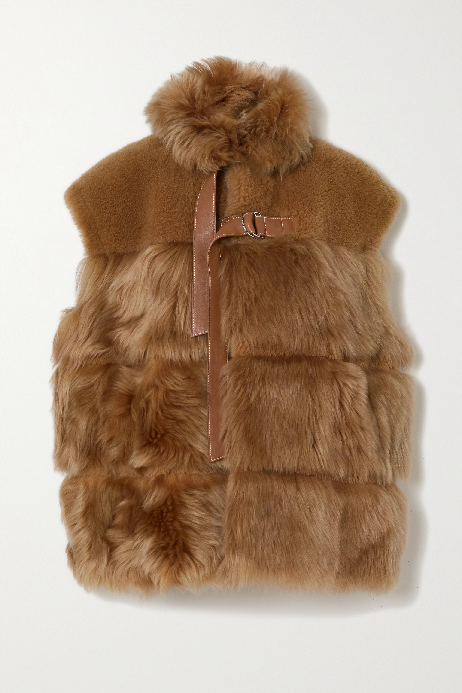 Chloé Weste aus Shearling mit Lederbesätzen