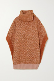 Chloé Mélange cable-knit wool-blend poncho