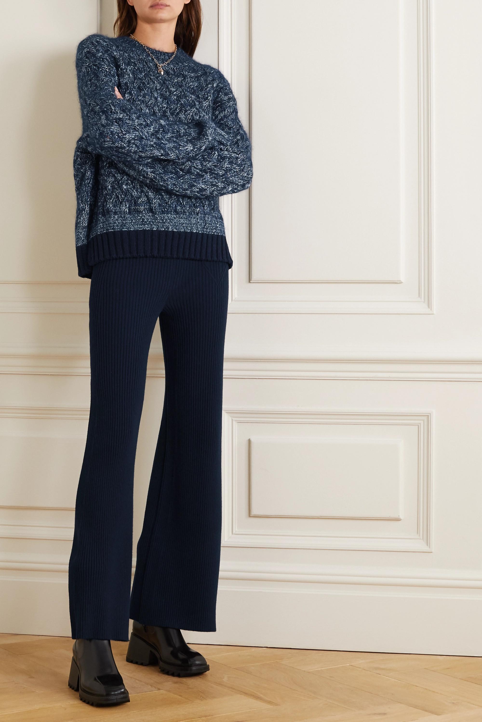 Chloé Cable-knit mélange wool-blend sweater