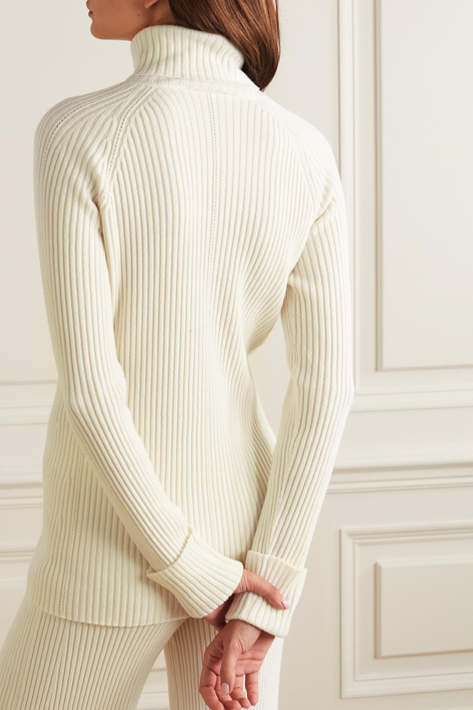 Chloé Pull à col roulé en laine et soie mélangées côtelées