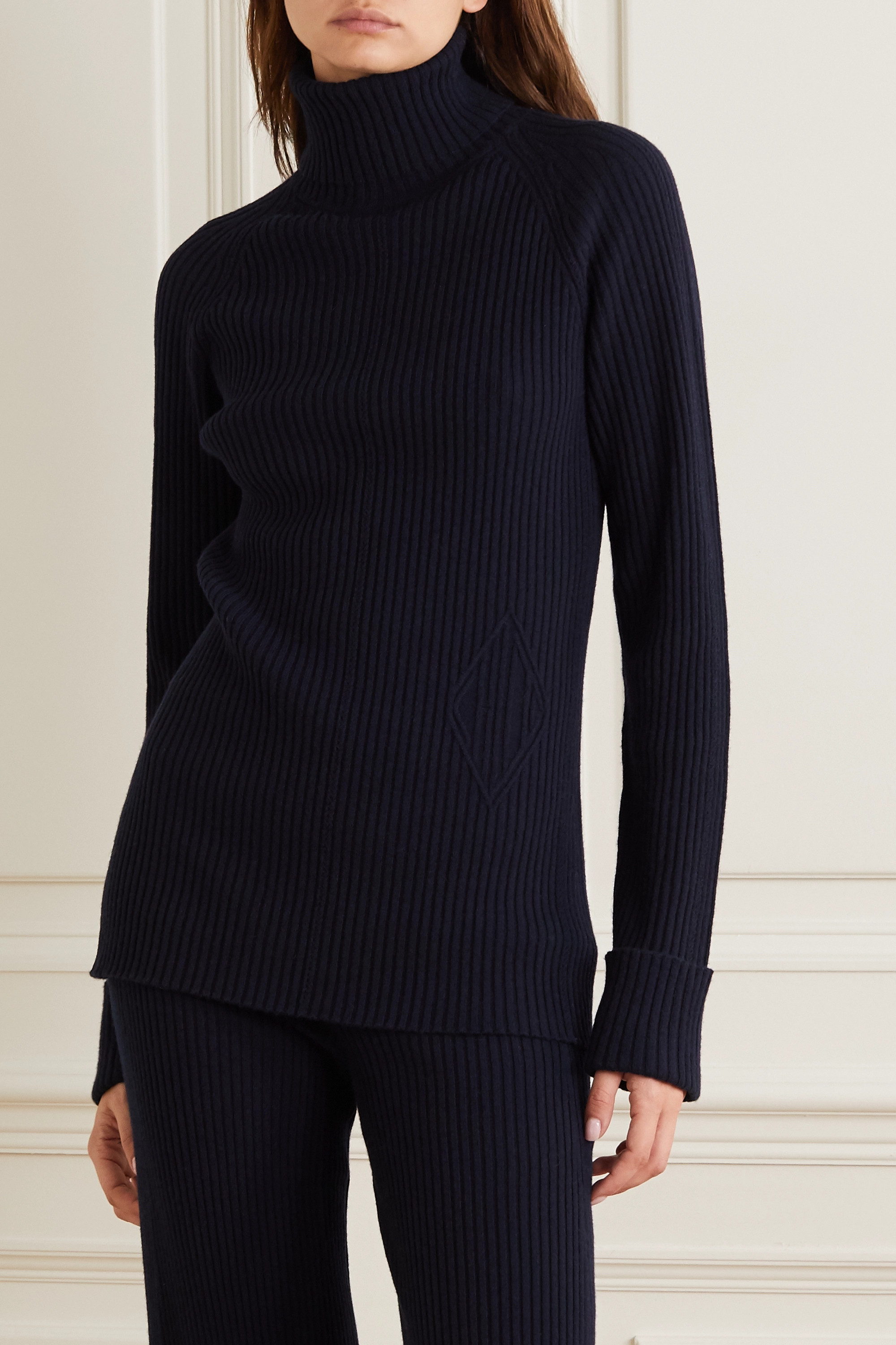 Chloé Ribbed wool and silk-blend turtleneck sweater
