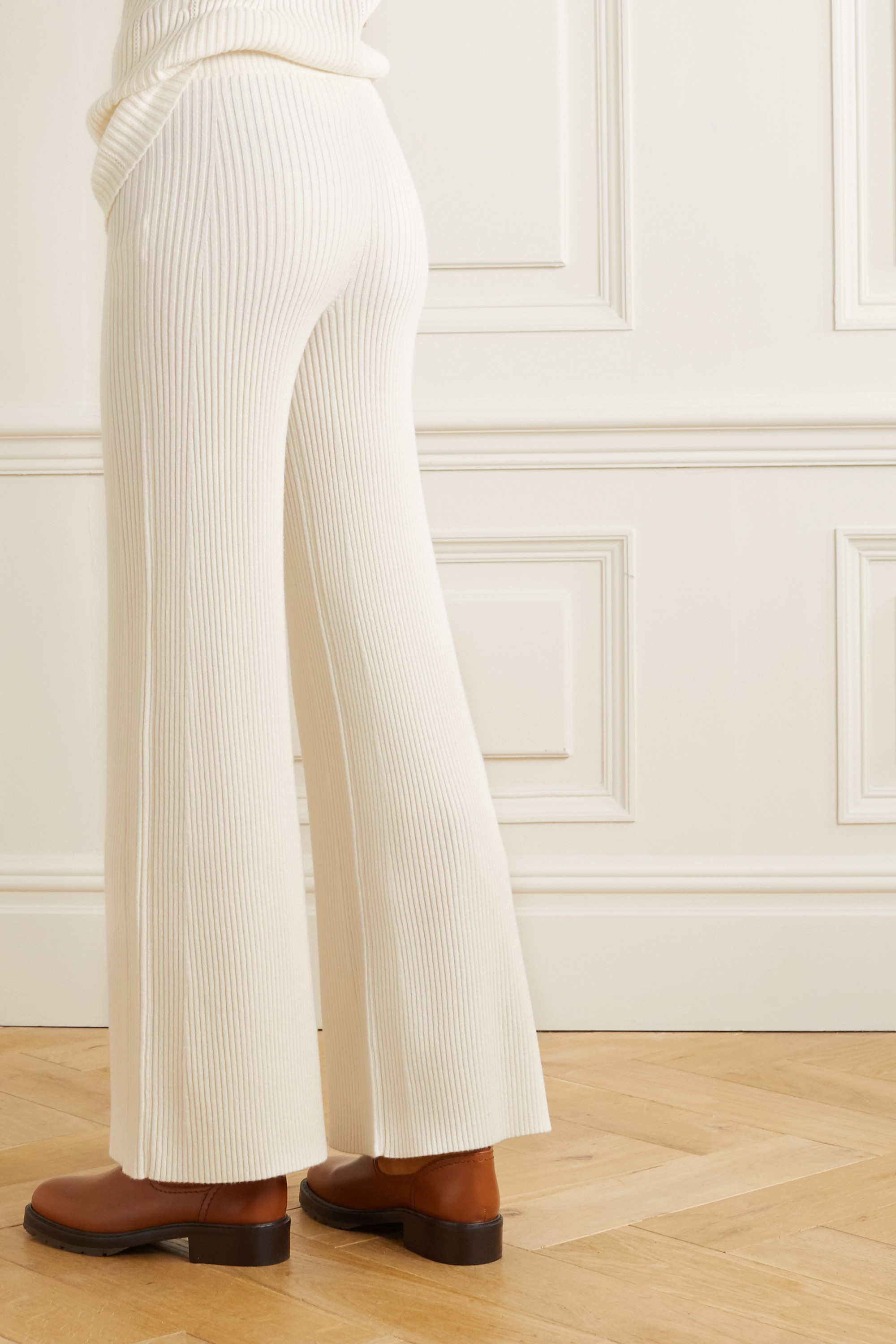 Chloé Ribbed wool-blend flared pants
