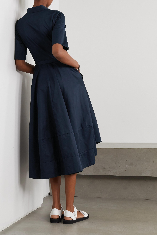 Co Belted asymmetric pleated cotton-poplin midi shirt dress