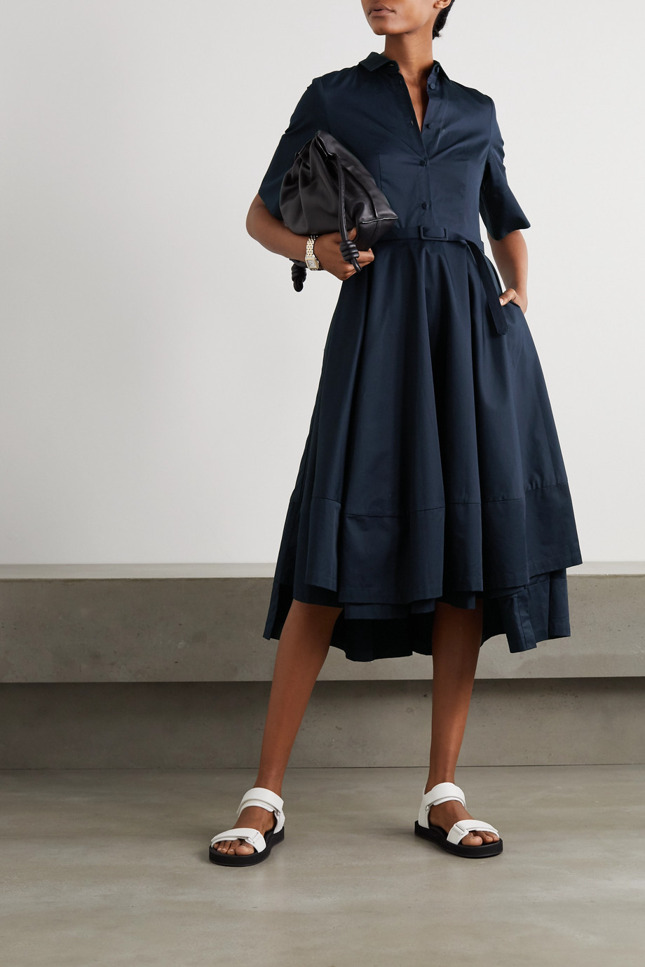 Co Belted asymmetric pleated cotton-poplin midi shirt dress