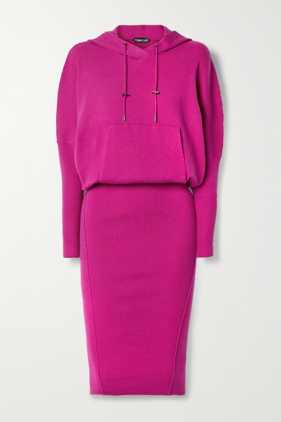 TOM FORD Hooded ribbed cashmere-blend dress
