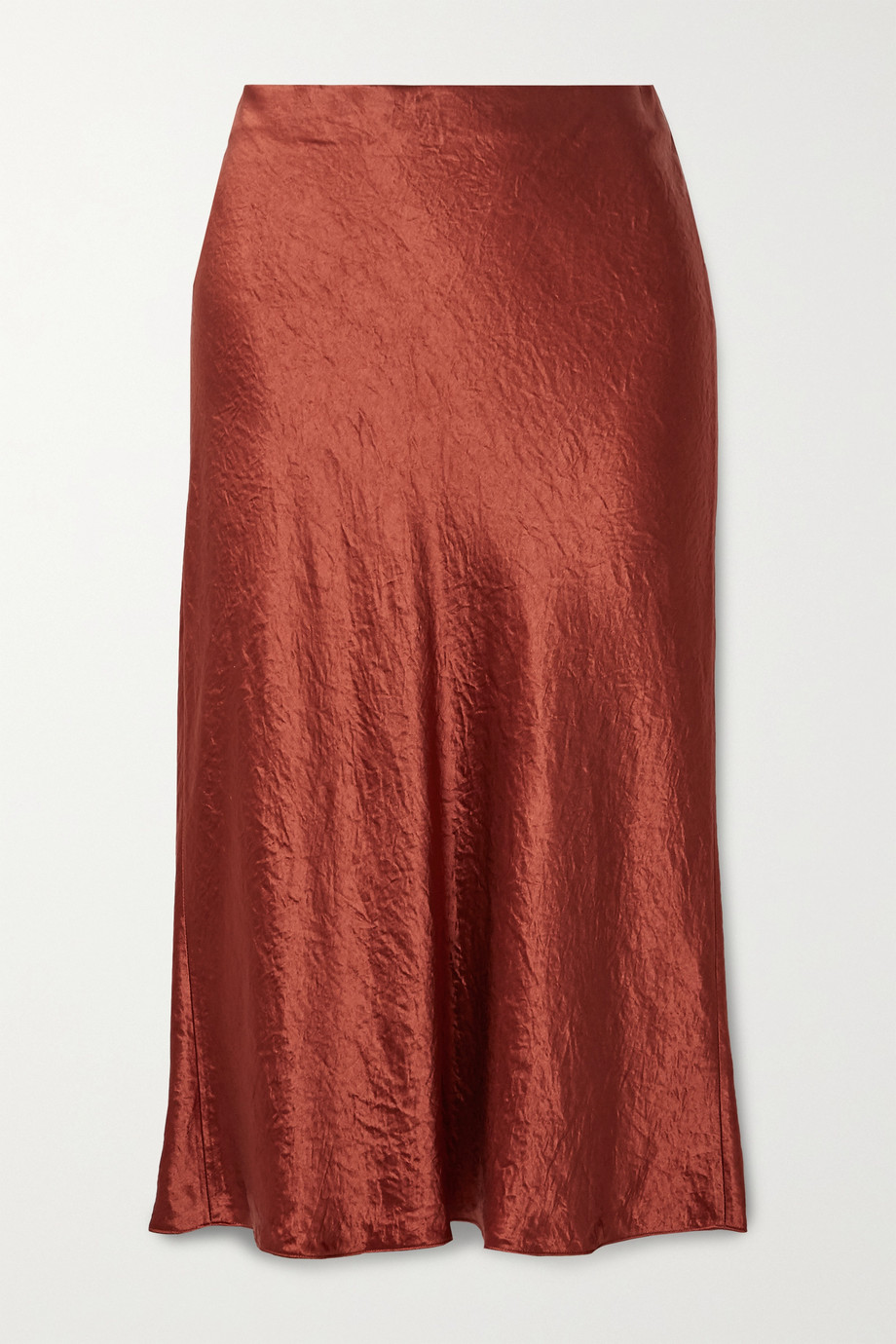 Vince Hammered-satin midi skirt