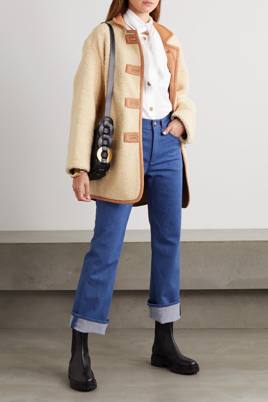 Chloé Jacke aus Shearling mit Lederbesatz