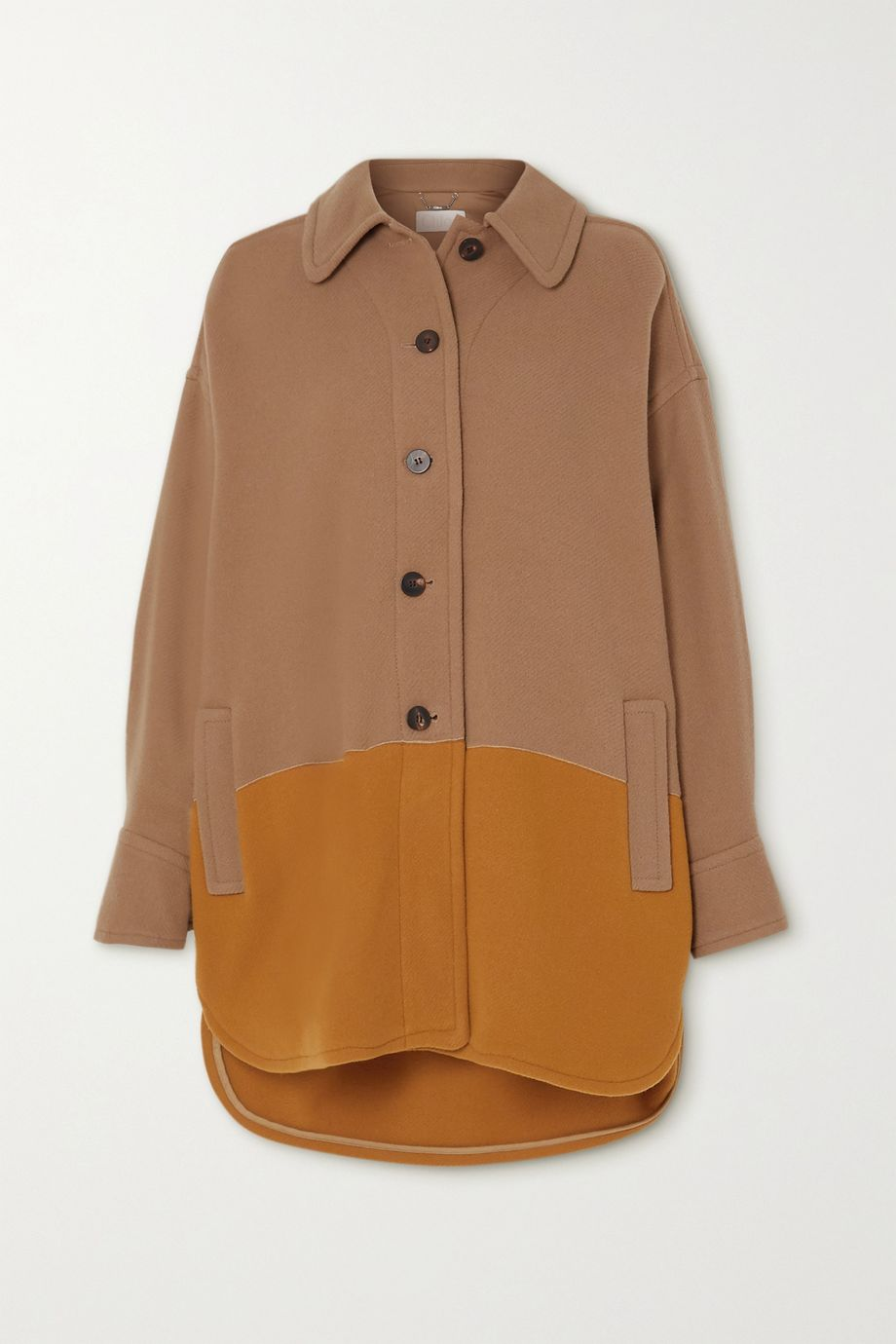 Chloé Two-tone wool-blend coat