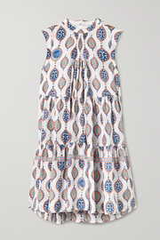 Chloé Tiered printed silk crepe de chine mini dress