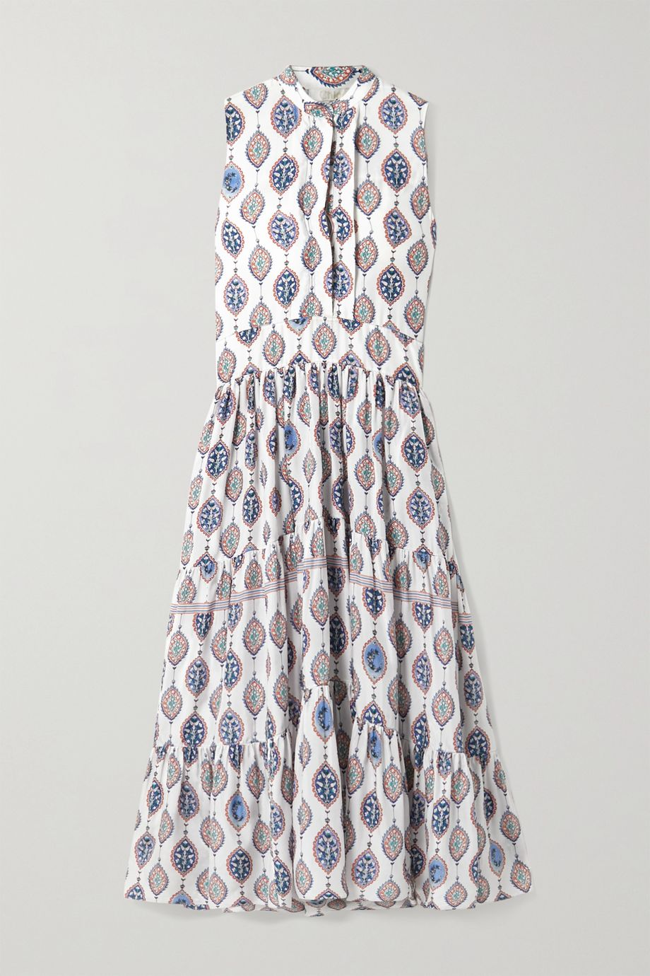 Chloé Tiered printed silk crepe de chine midi dress