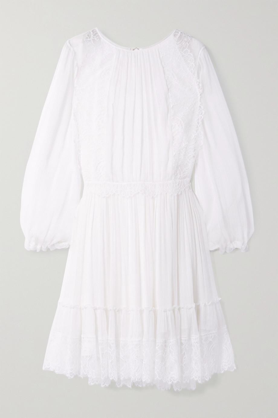 Chloé Lace-trimmed silk-crepon dress