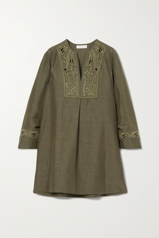 Chloé Mini-robe en lin et coton mélangés à broderie anglaise
