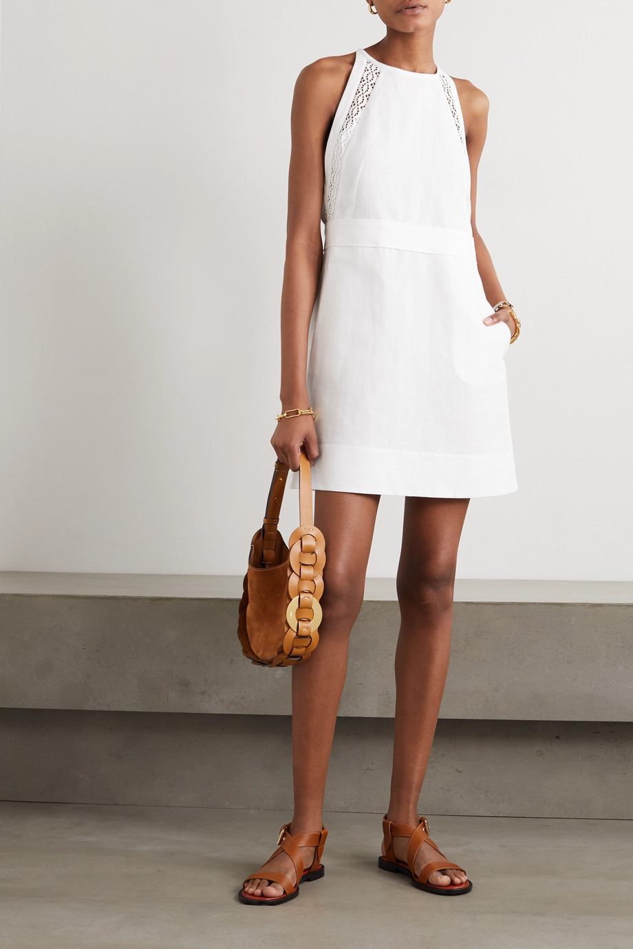 Chloé Crocheted lace-trimmed linen and cotton-blend mini dress