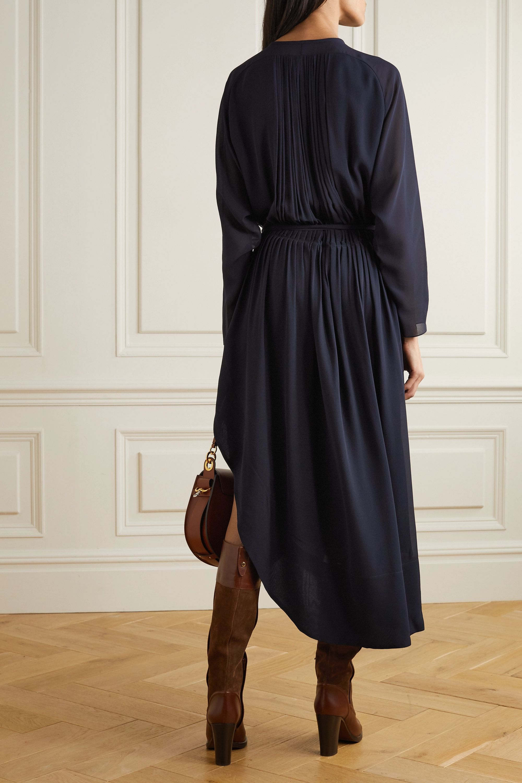 Chloé Button-detailed silk-crepe midi dress