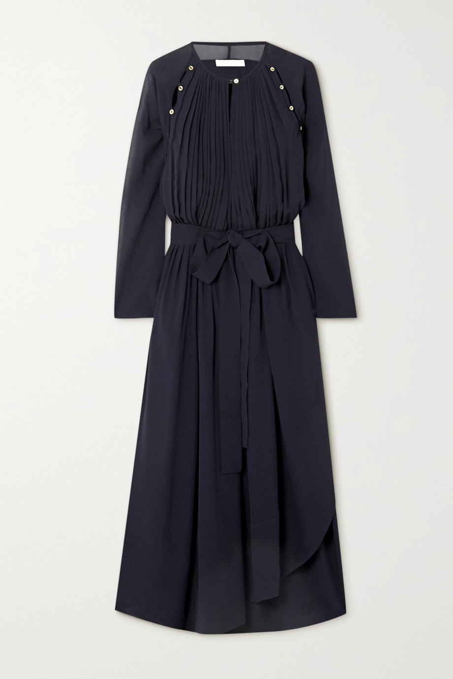 Chloé Button-detailed silk-crepe midi dress
