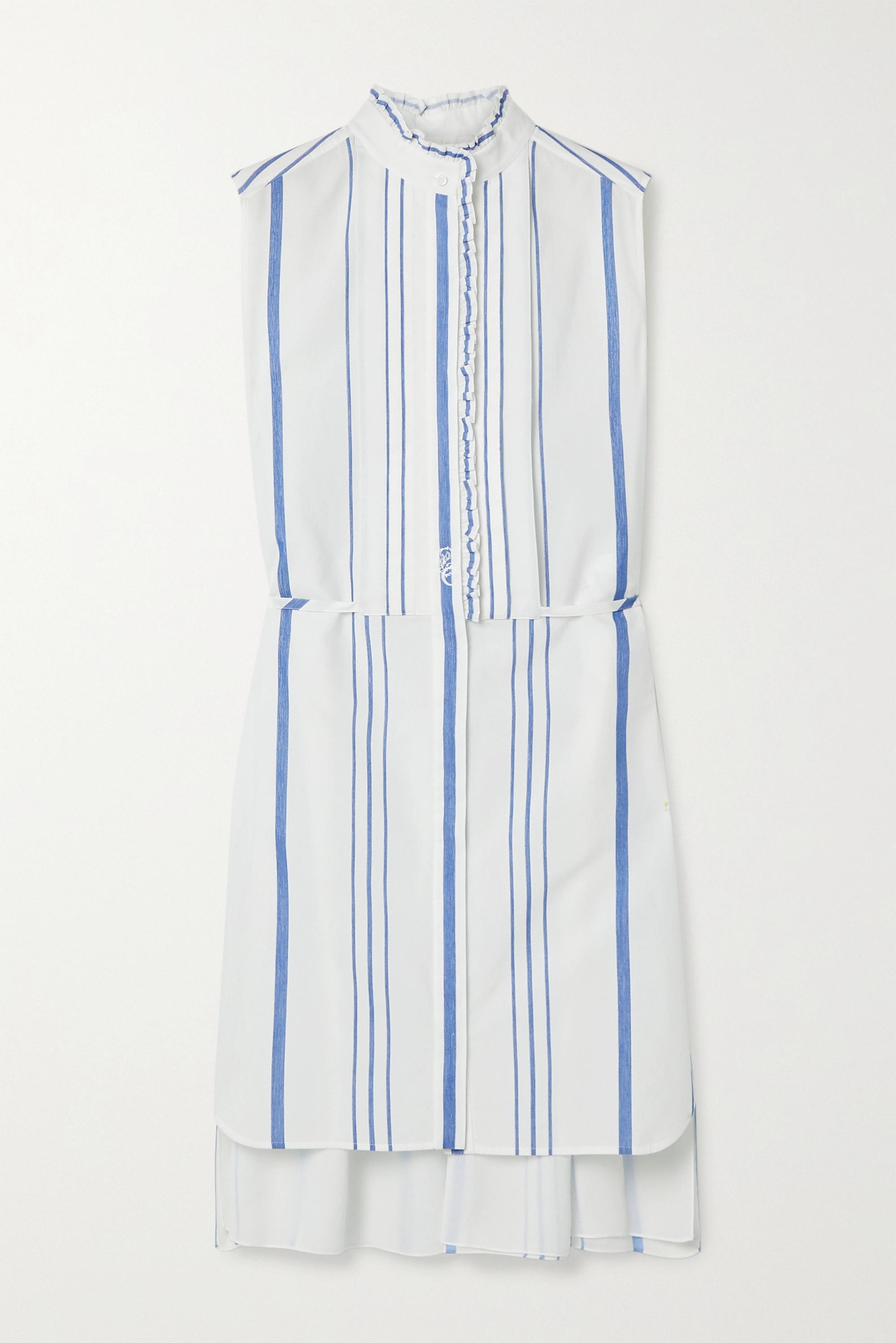 Chloé Robe-chemise en coton et en crêpe de Chine à rayures et à volants
