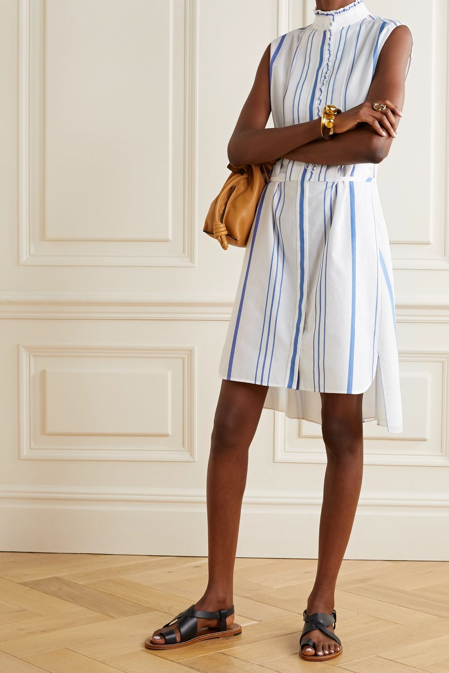 Chloé Ruffled striped cotton and crepe de chine shirt dress