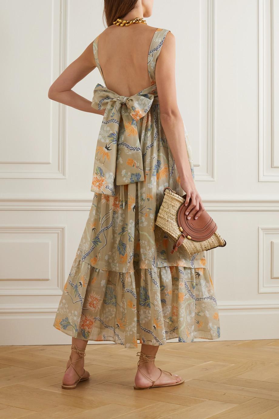 Chloé Ruffled tiered floral-print ramie midi dress