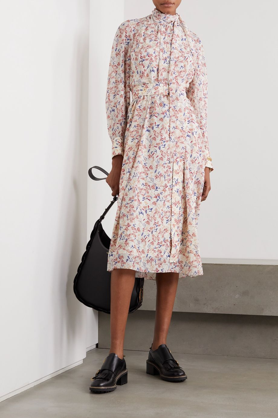 Chloé Tie-detailed floral-print silk crepe de chine midi dress