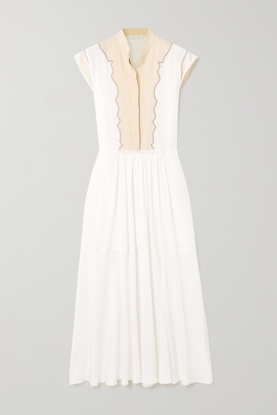 Chloé Silk crepe de chine and linen midi dress