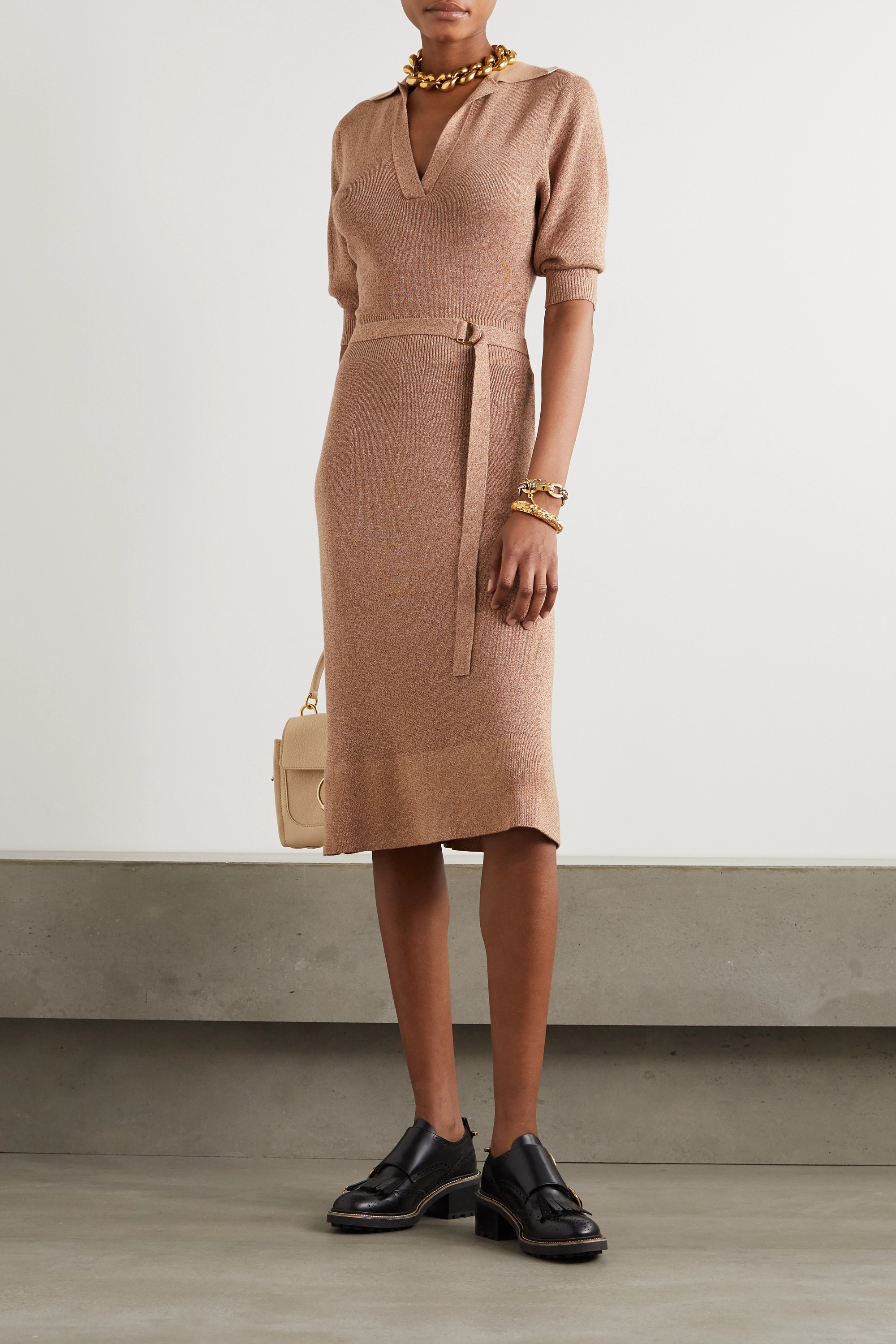 Chloé Belted mélange wool and silk-blend midi dress