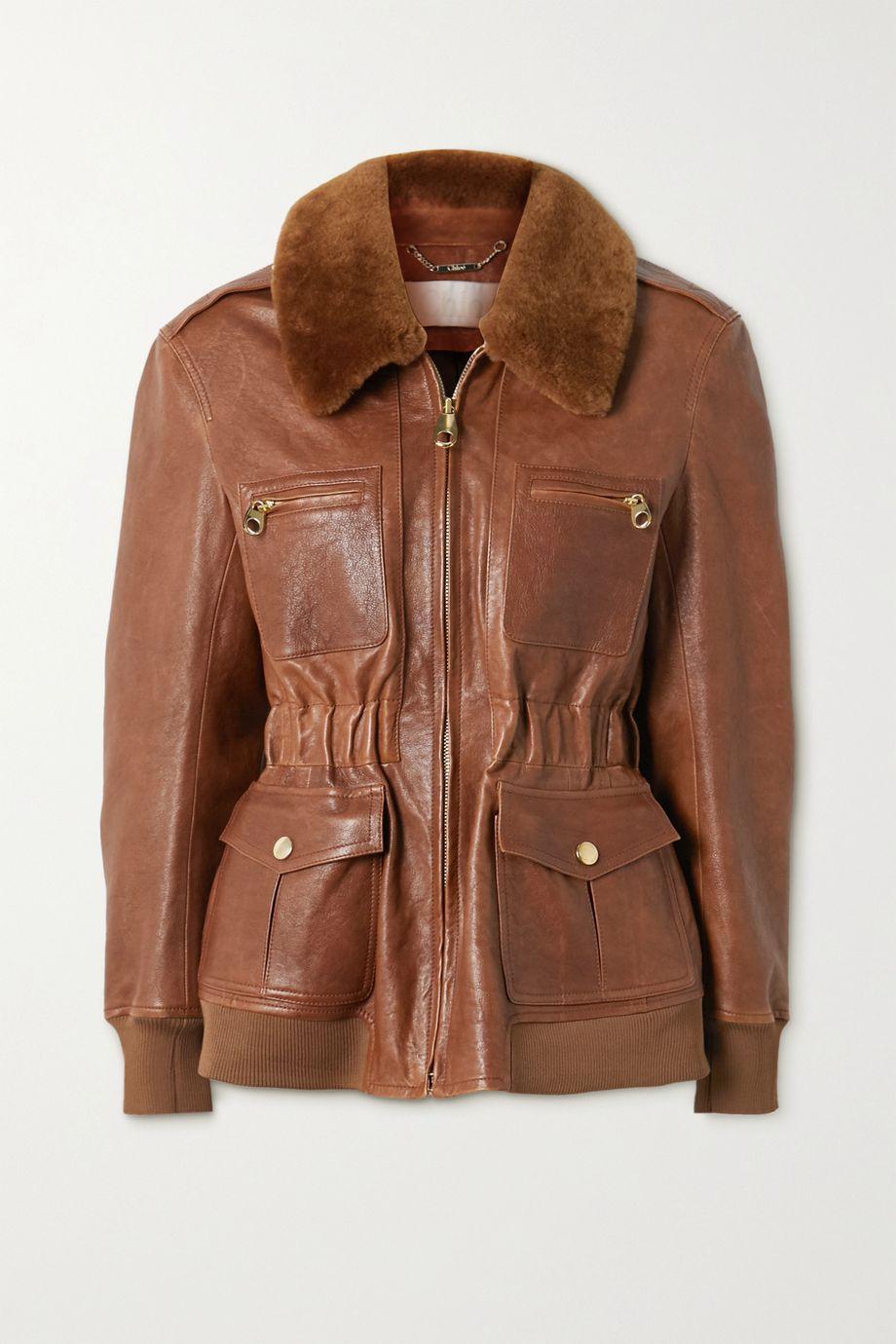 Chloé Jacke aus Leder mit Faux-Fur-Besatz