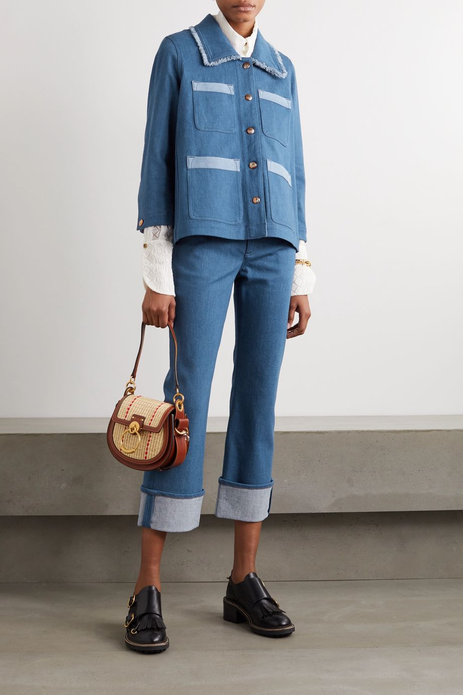 Chloé Frayed two-tone denim jacket