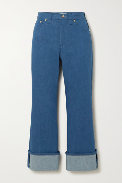 Chloe - Cropped Two-tone High-rise Flared Jeans - Blue