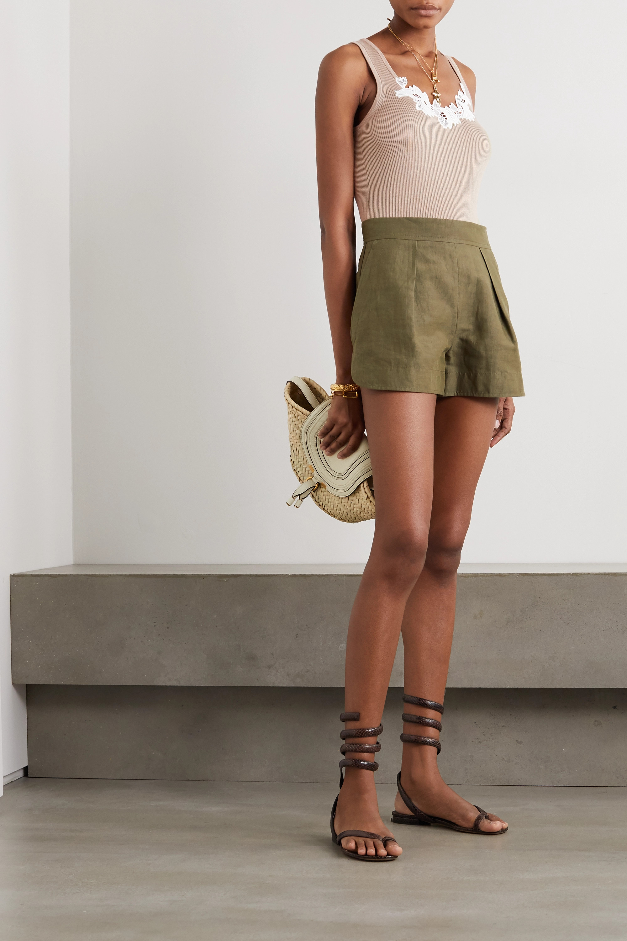 Chloé Guipure lace-trimmed ribbed cotton tank