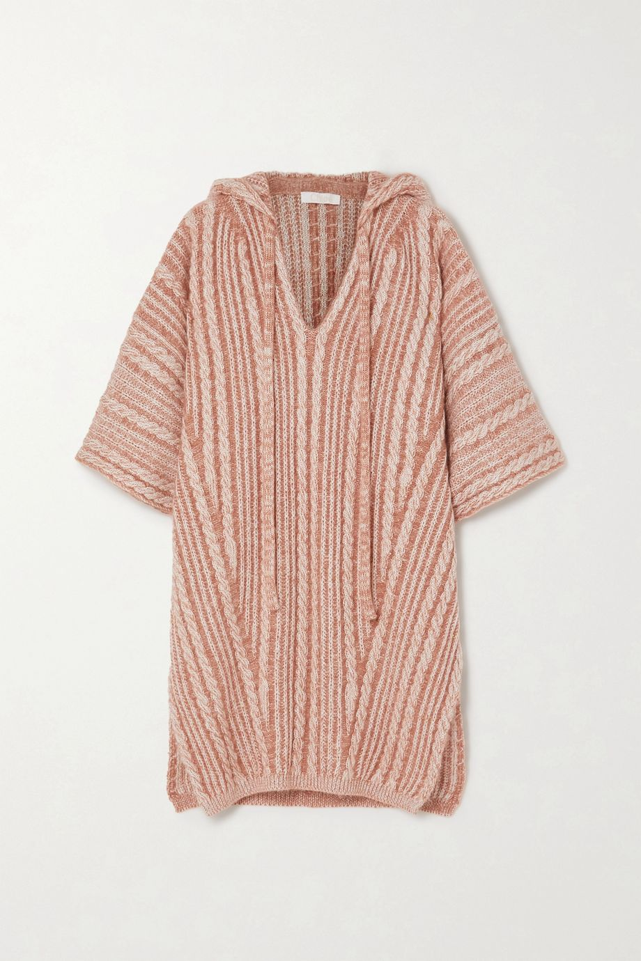 Chloé Hooded cable-knit wool-blend poncho