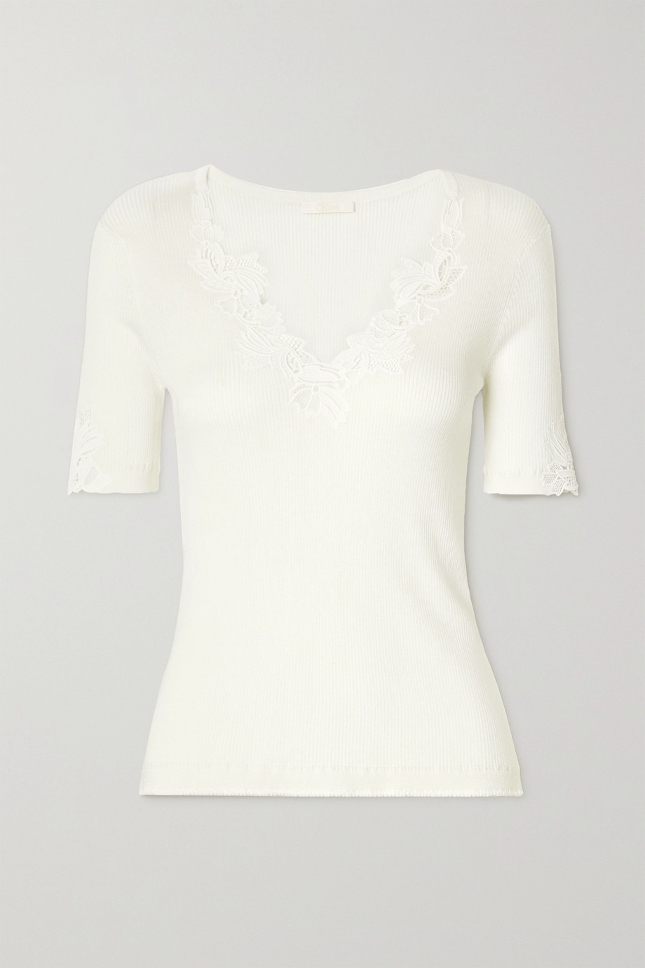 Chloé Guipure lace-trimmed ribbed cotton-jersey sweater