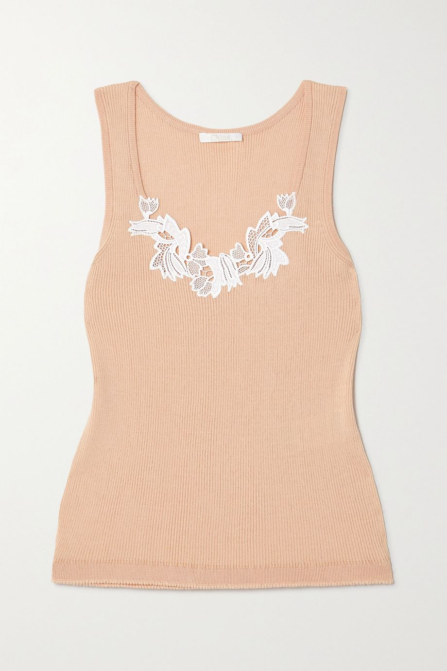 Chloé Guipure lace-trimmed ribbed cotton-jersey tank