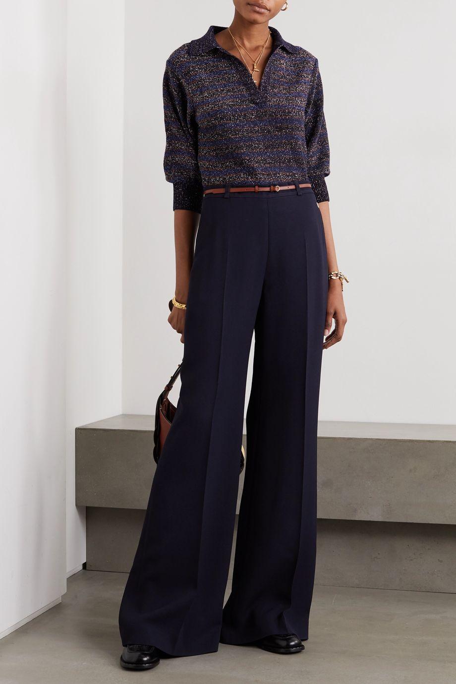 Chloé Wool-blend Lurex polo shirt