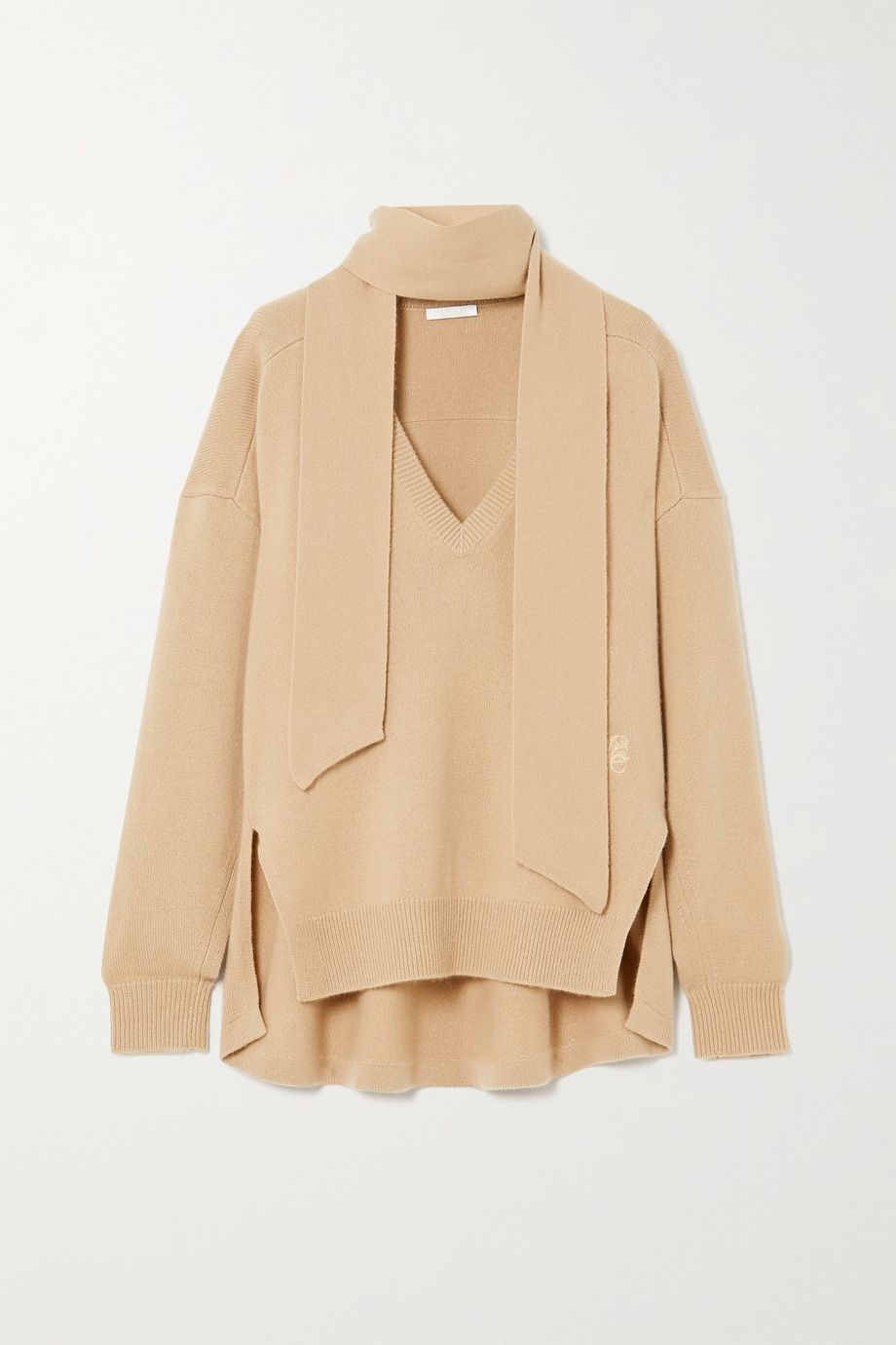 Chloé Tie-detailed embroidered cashmere sweater