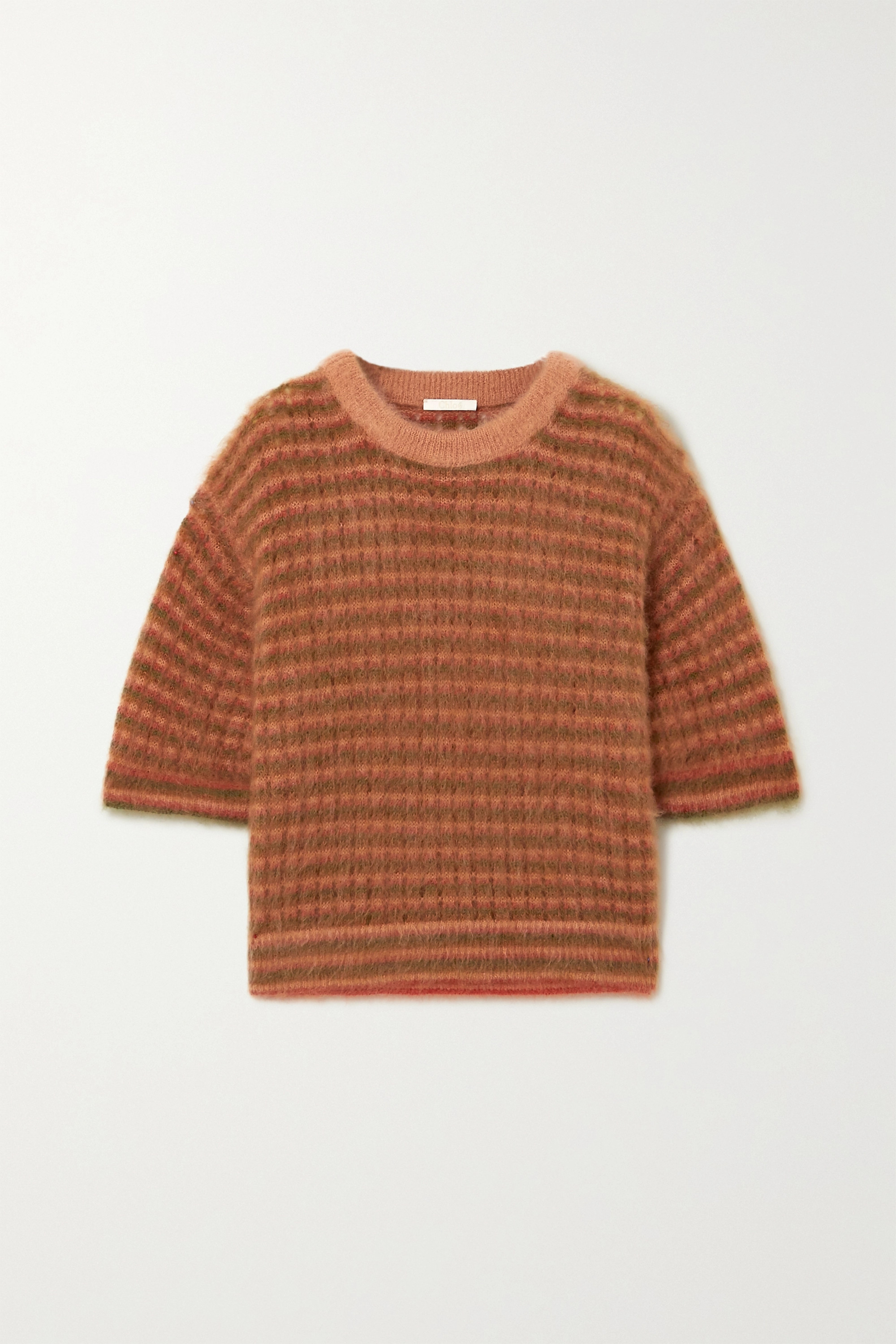 Chloé Cropped striped mohair-blend top