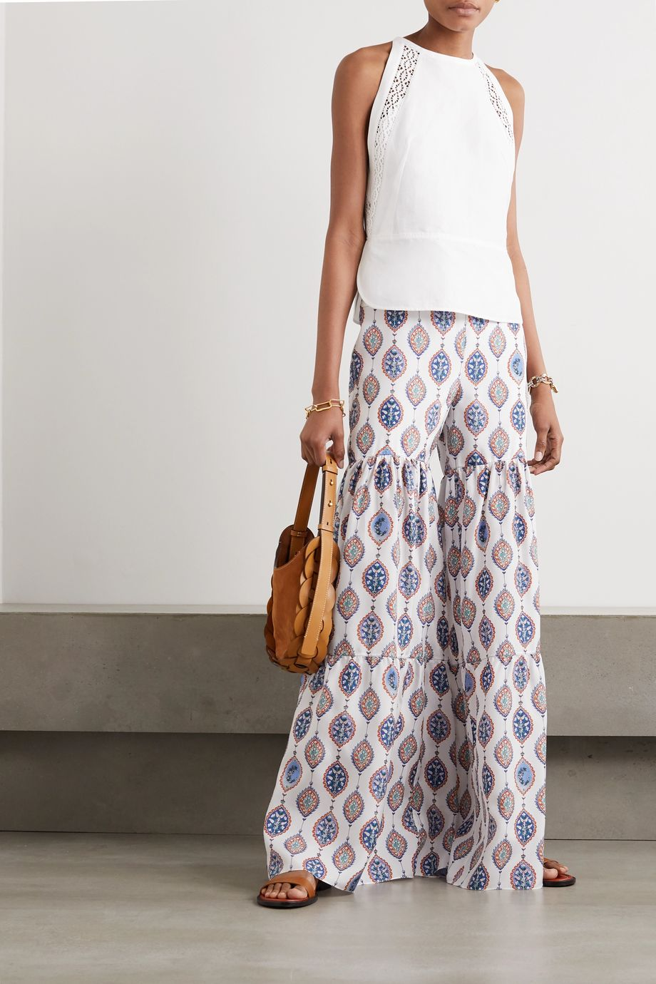 Chloé Tiered printed silk-habotai flared pants