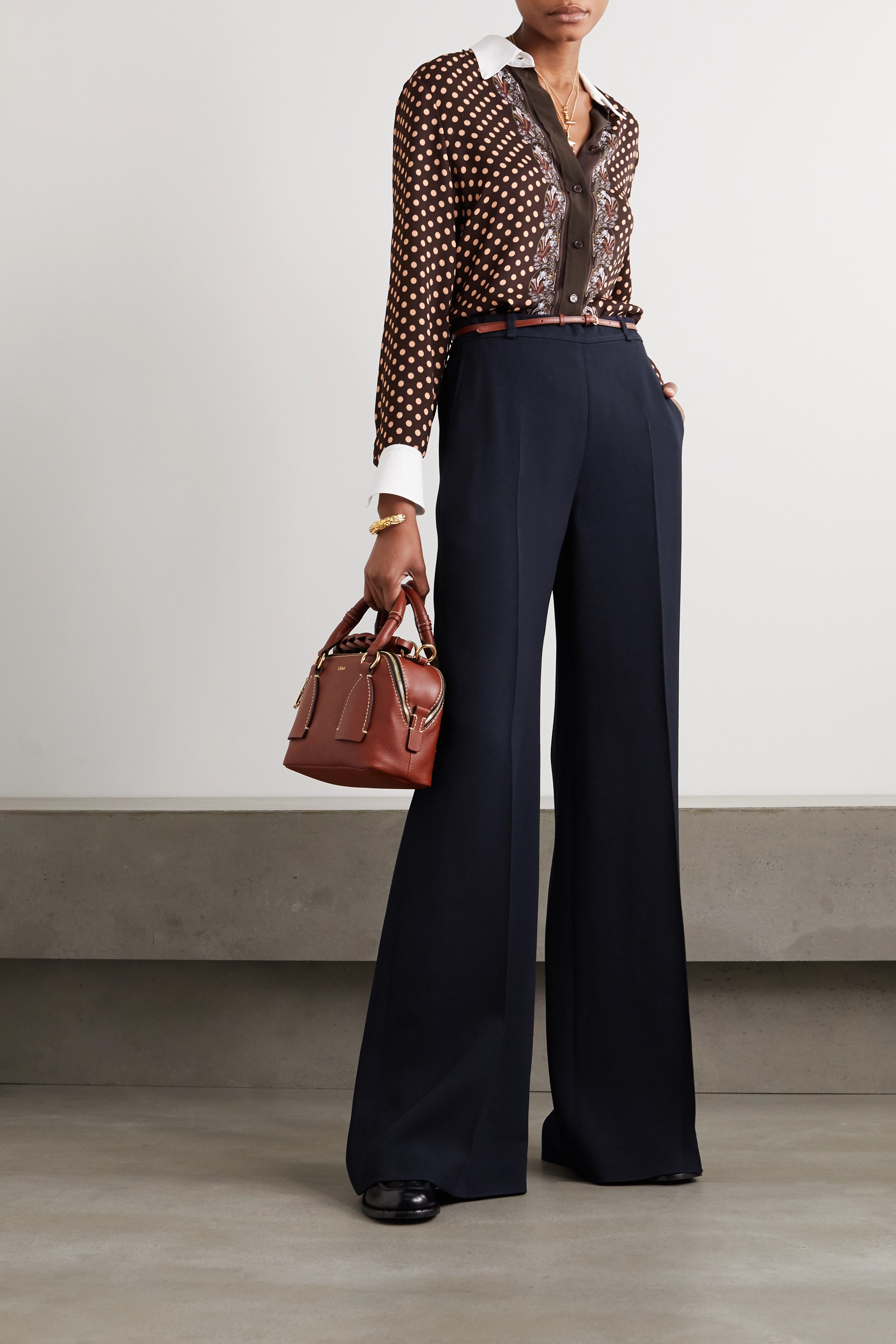Chloé Belted crepe wide-leg pants