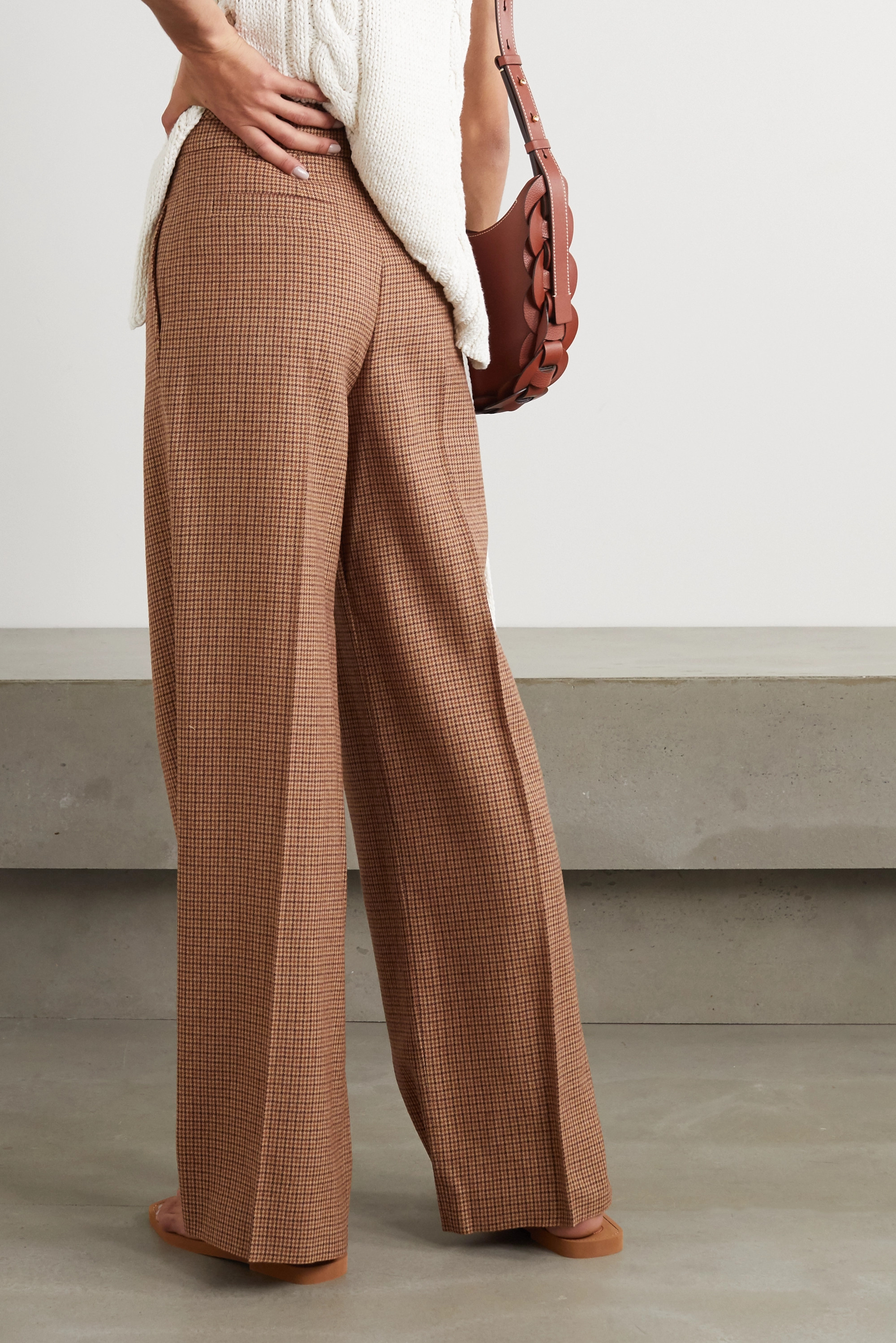 Chloé Pleated houndstooth wool wide-leg pants