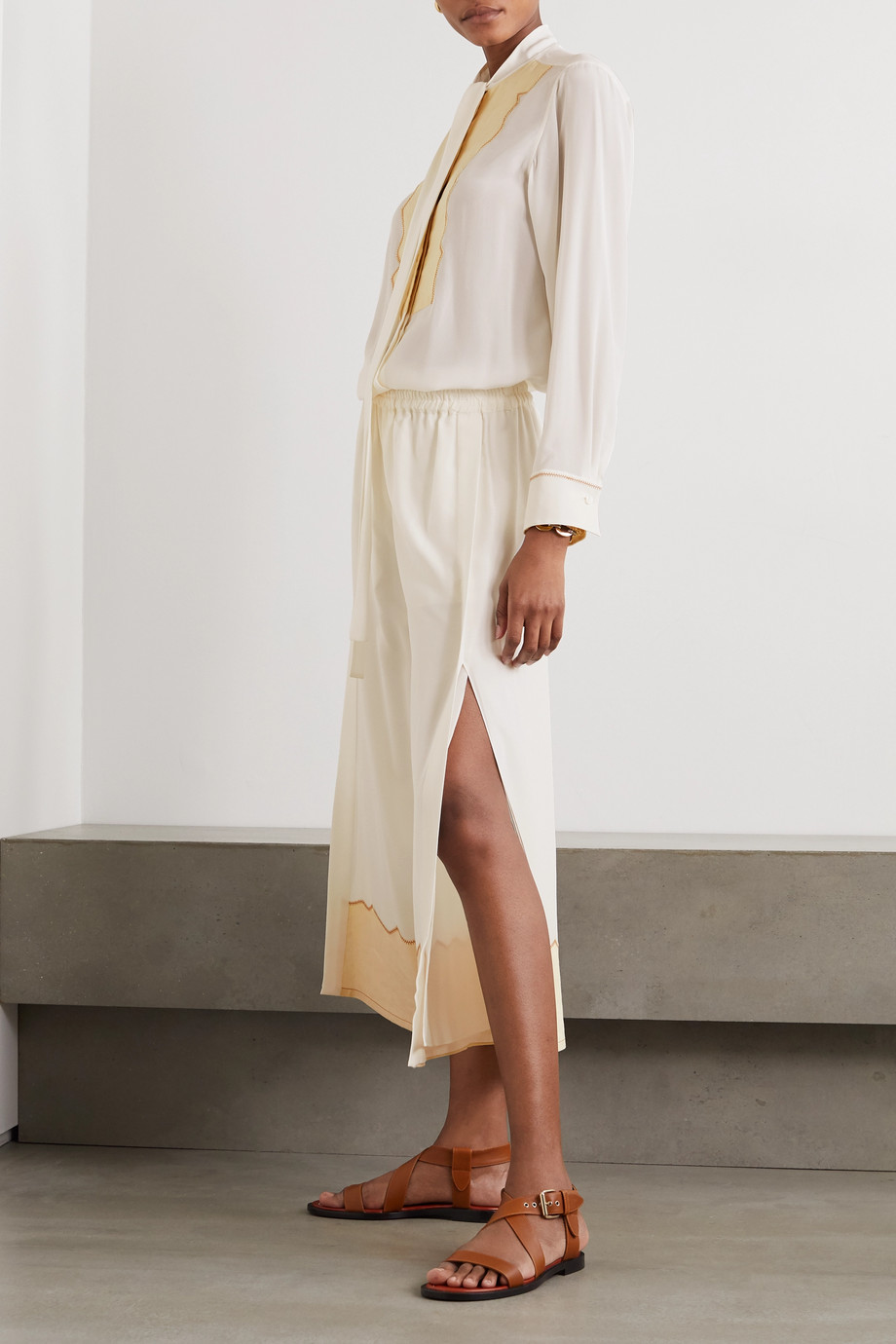 Chloé Silk crepe de chine and linen wide-leg pants