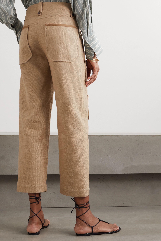 Chloé Verkürzte Hose mit weitem Bein aus einer Leinen-Baumwollmischung