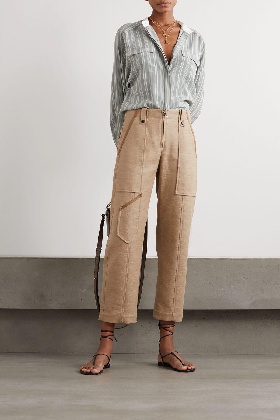 Chloé Cropped linen and cotton-blend wide-leg pants
