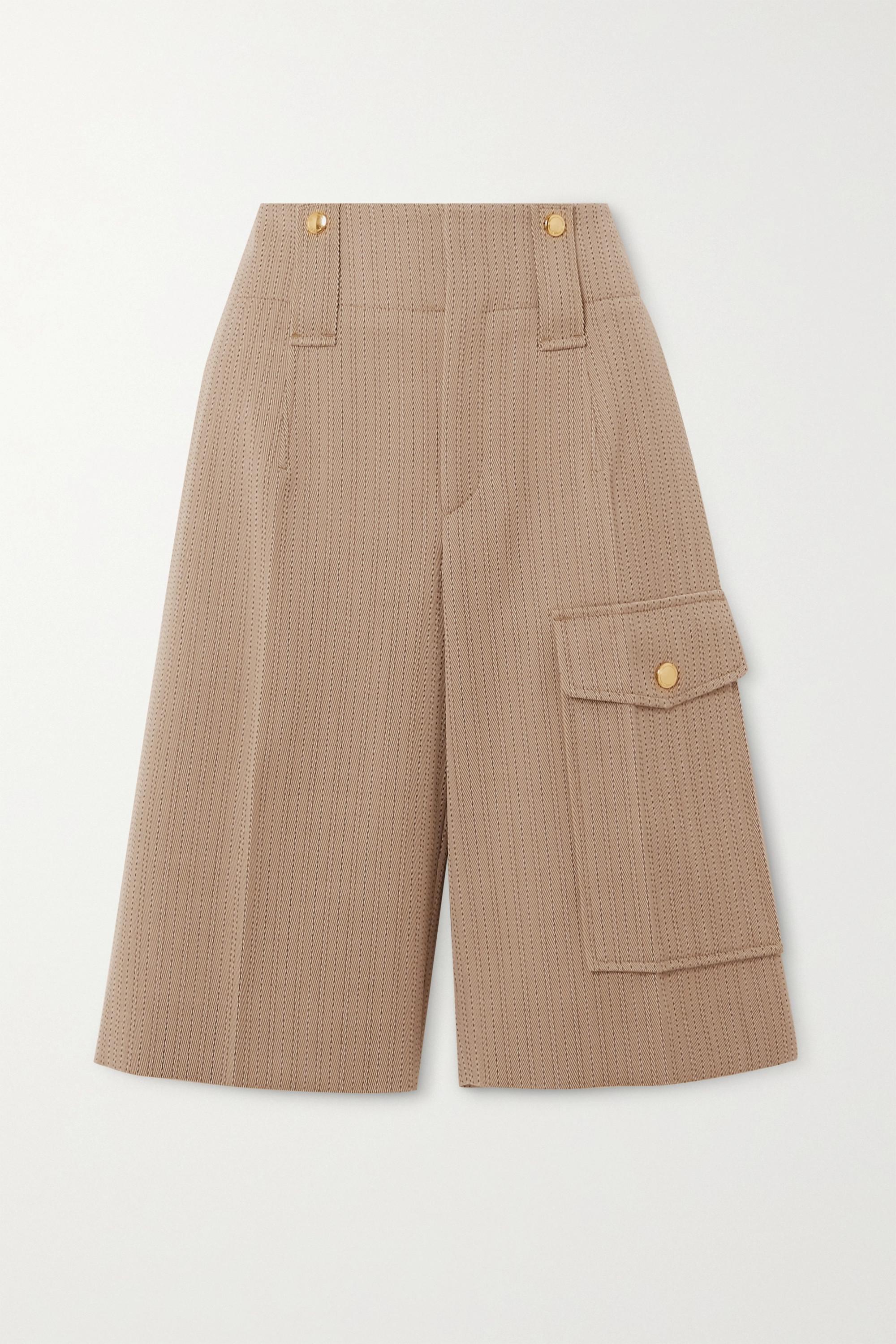 Chloé Pinstriped wool-twill shorts